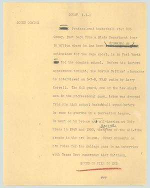 Primary view of object titled '[News Script: Cousy]'.