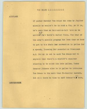 Primary view of object titled '[News Script: Von Braun]'.