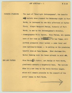 Primary view of object titled '[News Script: ACF arrivals]'.