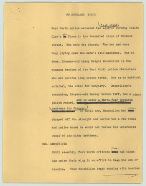 Primary view of object titled '[News Script: FW burglars]'.