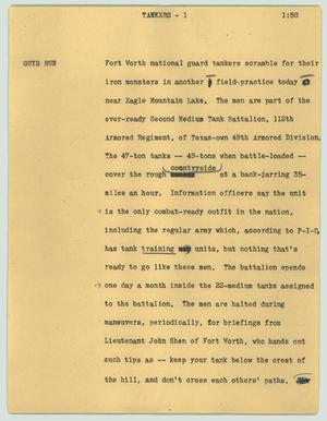 Primary view of object titled '[News Script: Tankers]'.