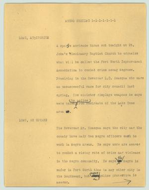 Primary view of object titled '[News Script: Negro meeting]'.