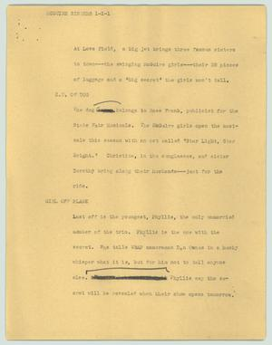 Primary view of object titled '[News Script: McGuire sisters]'.