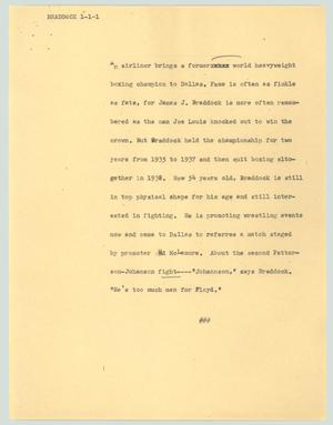Primary view of object titled '[News Script: Braddock]'.
