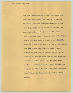 Primary view of object titled '[News Script: Legal secretaries]'.