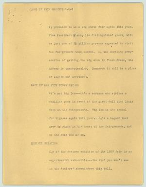 Primary view of object titled '[News Script: Long of fair grounds]'.