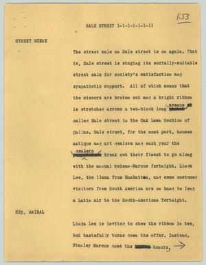 Primary view of object titled '[News Script: Sale street]'.