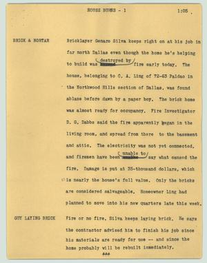 Primary view of object titled '[News Script: House burns]'.