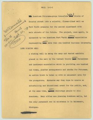 Primary view of object titled '[News Script: Mall]'.