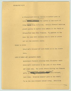 Primary view of object titled '[News Script: McCallum]'.