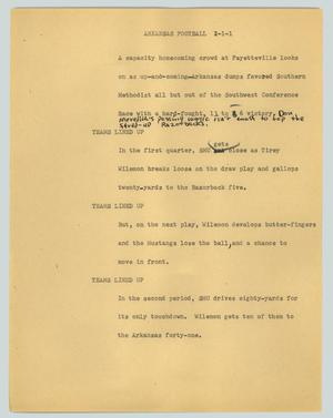 Primary view of object titled '[News Script: Arkansas football]'.
