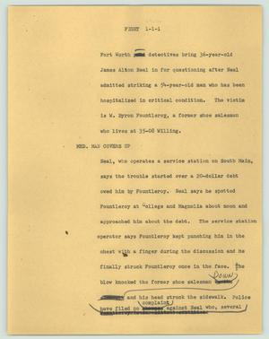Primary view of object titled '[News Script: Fight]'.