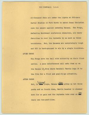 Primary view of object titled '[News Script: TCU football]'.