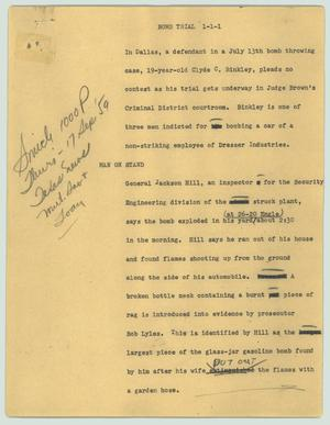 Primary view of object titled '[News Script: Bomb trial]'.