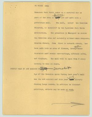 Primary view of object titled '[News Script: Ft Worth mall]'.