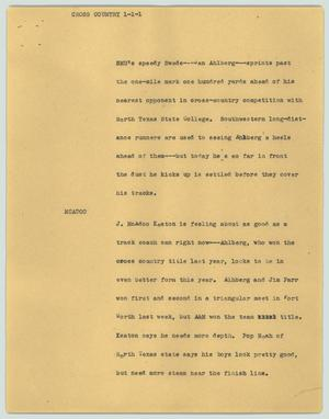 Primary view of object titled '[News Script: Cross country]'.