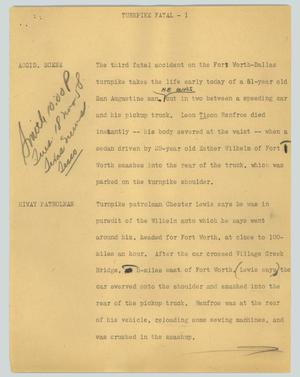 Primary view of object titled '[News Script: Turnpike fatal]'.