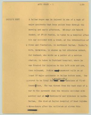 Primary view of object titled '[News Script: Auto wreck]'.