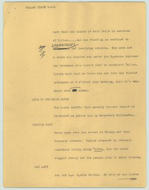 Primary view of object titled '[News Script: Dallas flood]'.