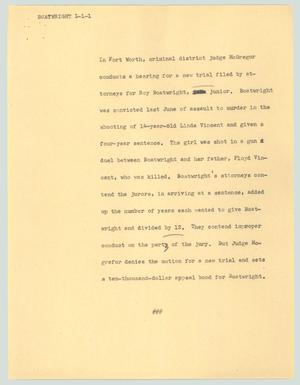 Primary view of object titled '[News Script: Boatwright]'.