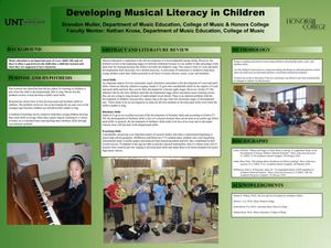 Primary view of object titled 'Developing Musical Literacy in Children'.
