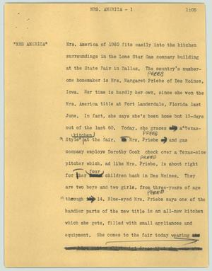 Primary view of object titled '[News Script: Mrs. America]'.