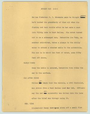 Primary view of object titled '[News Script: Stolen car]'.