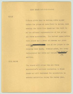 Primary view of object titled '[News Script: Miss Space]'.