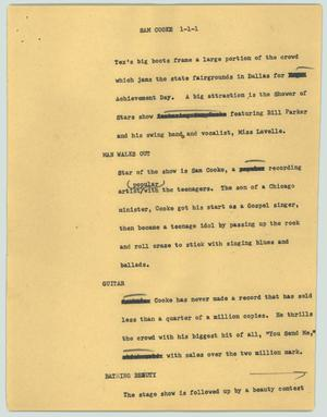 Primary view of object titled '[News Script: Sam Cooke]'.
