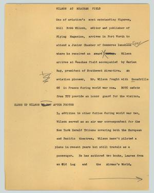 Primary view of object titled '[News Script: Wilson at Meacham Field]'.