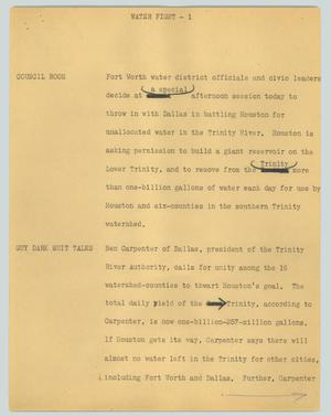 Primary view of object titled '[News Script: Water fight]'.