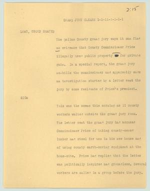 Primary view of object titled '[News Script: Grand Jury clears]'.