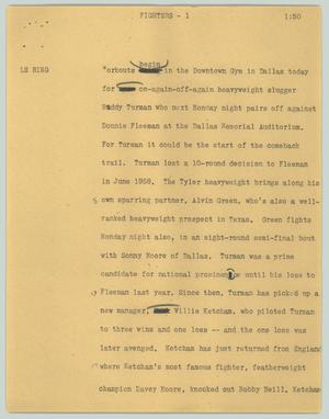 Primary view of object titled '[News Script: Fighters]'.