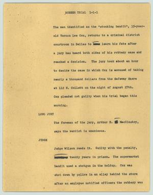 Primary view of object titled '[News Script: Robber trial]'.
