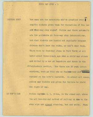 Primary view of object titled '[News Script: Four way stop]'.