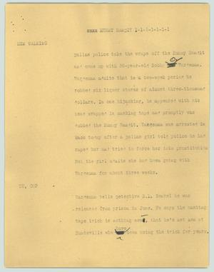 Primary view of object titled '[News Script: Mummy bandit]'.