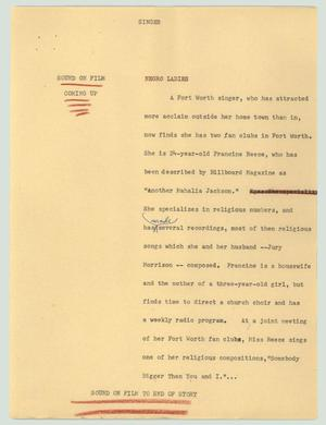 Primary view of object titled '[News Script: Singer]'.