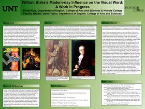 Primary view of object titled 'William Blake's Modern-day Influence on the Visual Word: A Work in Progress'.