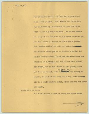 Primary view of object titled '[News Script: Baby]'.
