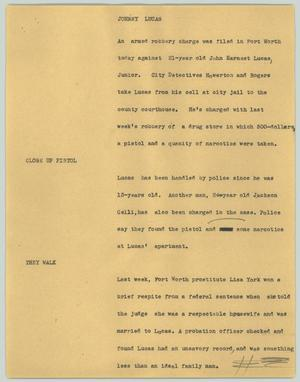 Primary view of object titled '[News Script: Johnny Lucas]'.
