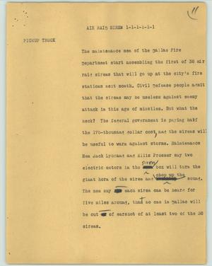 Primary view of object titled '[News Script: Air raid siren]'.