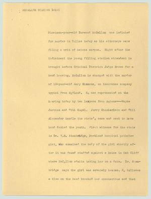 Primary view of object titled '[News Script: McCallum hearing]'.