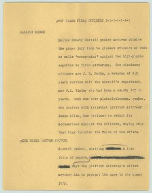 Primary view of object titled '[News Script: Jury hears fired officers]'.