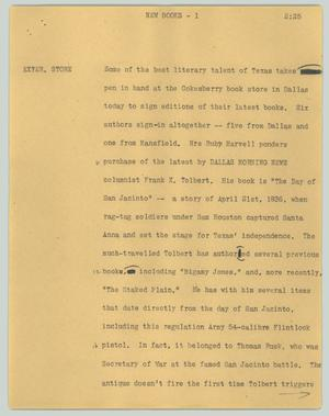 Primary view of object titled '[News Script: New books]'.
