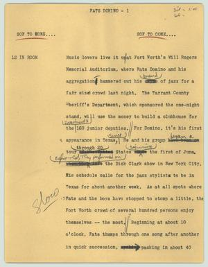 Primary view of object titled '[News Script: Fats Domino]'.