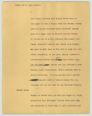 Primary view of object titled '[News Script: Woman out of  jail]'.