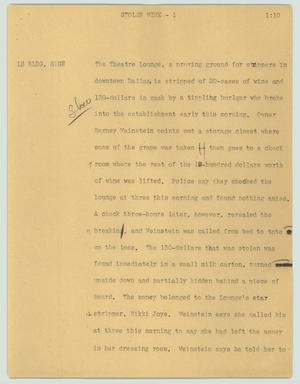 Primary view of object titled '[News Script: Stolen wine]'.