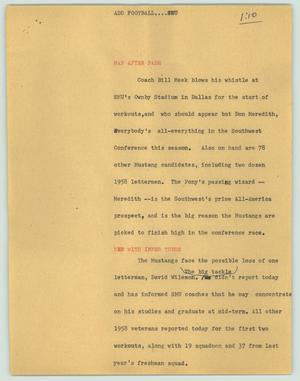 Primary view of object titled '[News Script: Add football....SMU]'.