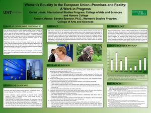 Primary view of object titled 'Women's Equality in the European Union -- Promises and Reality: A Work in Progress'.