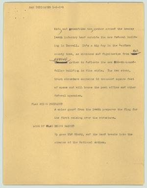 Primary view of object titled '[News Script: Sam dedicates]'.